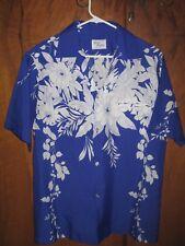 VINTAGE SAND PEBBLE HAWAIIAN SHIRT BLUE WHITE FLORAL S