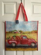 NEW TJ Maxx Marshalls Shopping Bag Red Truck w/Pumpkins Reusable Travel Tote Eco