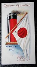 WILSON LINE   HULL SHIP OWNERS   Funnel & Flag  Original 1906 Card