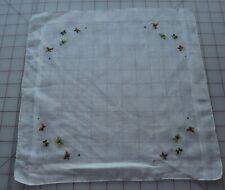 7252 Vintage white linen hankie, petit point Butterflies embroidery