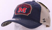 NEW Mississippi Ole Miss Rebels Navy Embroidered Zephyr Snapback Cap Hat trucker