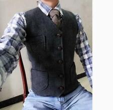 Retro Mens Wool Waistcoat Herringbone Tweed Waistcoats Vest Gilet Casual Slim