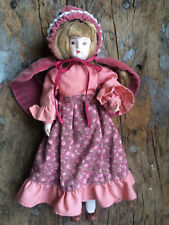 Russ Berrie Co Porcelain Doll Months to Remember November 1595 Pink Dress & Cape