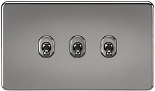 SCREWLESS 10A 3G GANG 2 WAY TOGGLE LIGHT SWITCH - BLACK NICKEL