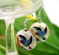 SALE Beautiful Big 18mm White Round Cloisonne Beads Dangle 1.5'' earring-ear584