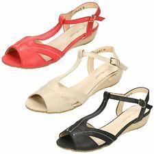 Ladies Anne Michelle T-Bar Ankle Strap Wedge Sandals