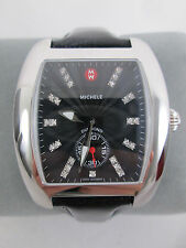 NEW Michele Large Black Urban Diamond Dial Watch + Band  MW02T00A0927 NIB + Box