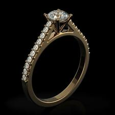 Diamond Engagement Ring Round Natural Invisible 14K Yellow Gold  1 Ct
