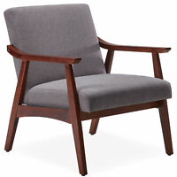Mid-Century Accent Chair Living Room Upholstered Linen Armchair W/Wood Leg, Grey