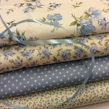 100% Cotton Poplin Fabric Fat Quarter Bundle x 4 Fabrics