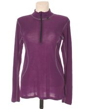 JANUS Women's Purple 100% Merino Wool Zip Neck Baselayer Top Blouse M Medium