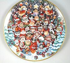 Franklin Mint Santa Claws Collector Plate by Bill Bell Christmas Cats in Box
