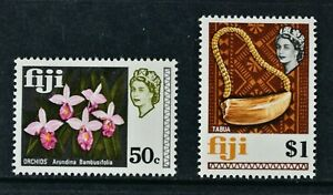 FIJI, 1970, set of 2 GLAZED PAPER stamps to $1 value, MM condition, Cat £10.