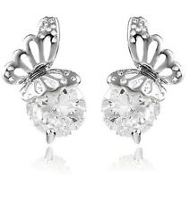 Shiny Evening Bridal or Party Silver & White Zircon Butterfly Stud Earrings E629
