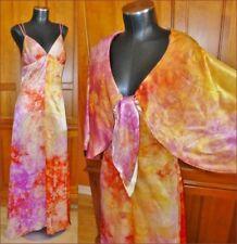 Vtg 70s Galaxy Tie Dye 2pc Disco Hippie Evening Party Maxi DRESS Bolero Cape