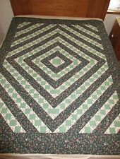 New Handmade quilt - Twin size quilt - Green and white print quilt