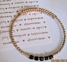 JANUARY Birthstone Beaded Rose Gold WRAP Coil Bracelet - GARNET