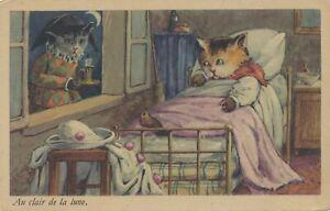Two Cats Au Clair De La Lune