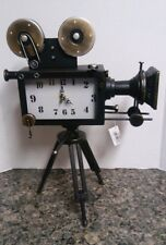 Vintage Projector Camera With Clock On Wooden Stand Old Time Retro Home Decorati