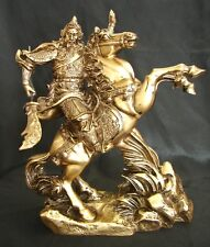 "9"" Bronze Color Guan Gong (Kwan Kong) on Horse Statue"