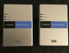 Lot of 2 Linksys Cisco System PLEBR10 Powerline Ethernet Bridges