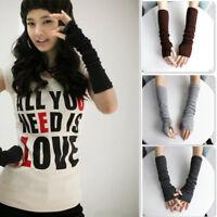 Wrist Arm Knitted Mitten Women Long Winter Hand Warmer Fingerless Thermal Gloves