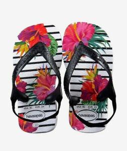 Havaianas Baby Chic Floral Stripe Print Thongs  Brazil 19 - UK 3 Infant