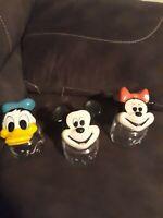 "The Walt Disney Company Mickey, Donald, Minnie, Ceramic Lid Glass Jars 6.5"" 60's"