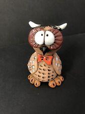 1970s Handmade Horned Owl Wearing Bow Tie Clay Pottery Funny Cartoon Big Eyes