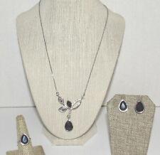 LBVYR Yves Rocher Glass Amethyst Necklace Ring Pierced Earrings Set