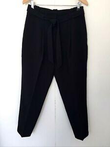 New Look Women's Black Tie Waist Black Pants Size 12 Casual Work Tapered