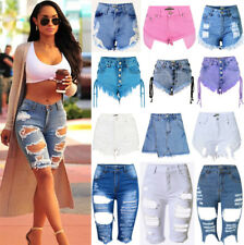 UK Womens Ladies Vintage High Waist Stretch Ripped Denim Jeans Shorts Hotpants