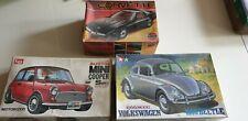 LS Mini Cooper S, Airfix '84 Corvette, Tamiya VW Beetle Kits, 1/25.