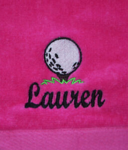 Personalized Monogrammed Sports, Golf Towel Groomsmen Pink Color