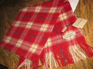 NWT 100% Authentic Burberry Plaid Check Cashmere unisex Red Scarf