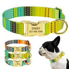 Personalised Nylon Dog Collar Heavy Duty Pet Dog Engraved Name ID & D-ring S M L