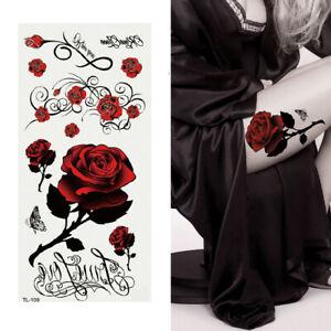 Temporary Rose Tattoo Body Art Flowers Sticker Sexy Stick on Fake tattoo Women
