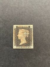 More details for great britain 1840 1d black plate 4 (pd), four clear margins used red mc, sg 2