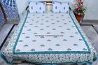 Floral Block Print Fabric Bedspread Indian Cotton Bedding Ethnic Boho Bed Cover