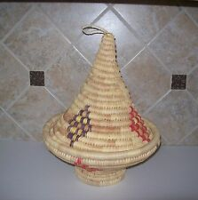 Vintage Moroccan Hand Woven Bread Basket with Conical Lid