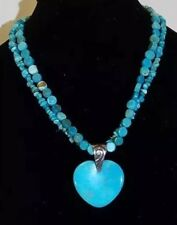 Jay King Mine Finds Sweetheart Blue Turquoise Heart Pendant Necklace Beads Exten