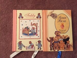 2 Baby Book Teddy Bear Photograph Picture Album Made In The U.K NM Great
