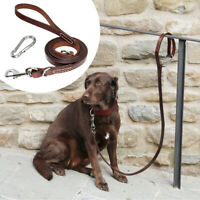 Brown Genuine Leather Dog Leads Heavy Duty Soft Handle Durable Walking Lead SML