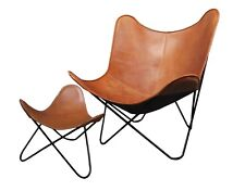 Set of Tan Color Butterfly Chair & Butterfly Foot Stool Knockdown Stand