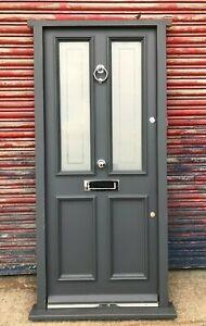 Victorian Wooden Hardwood Timber Front Door in Frame! Bespoke! Made to Measure!