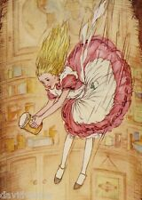 Vintage Storybook Falling Girl Folk Art ACEO Giclee Canvas Print