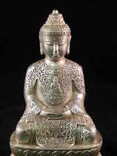 B188 China Tibet Bronze Messing Buddha Shakyamuni  Fengshui Hochzeitsschrank