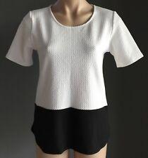 Retro SPORTSGIRL White & Black Textured Short Sleeve Top Size XS/8