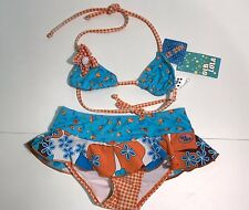 NEW Ola Lola Girls Kids Flower Print 2pc BIKINI w/ Skirt AL3823 Sz 6 RTL $60