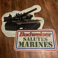 1994 LARGE BUDWEISER SALUTES THE Marines METAL BEER BAR WALL SIGN Advertisement